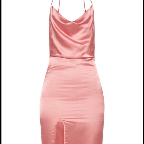 20c7036e5cfd PrettyLittleThing Dresses | Rose Strappy Satin Cowl Midi Dress ...